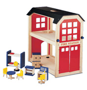 Wooden Toy Fire Station