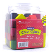 2.5cm Wooden Colour Cubes (Set of 100)