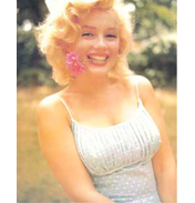 Marilyn Monroe with Flower Colour Poster Card